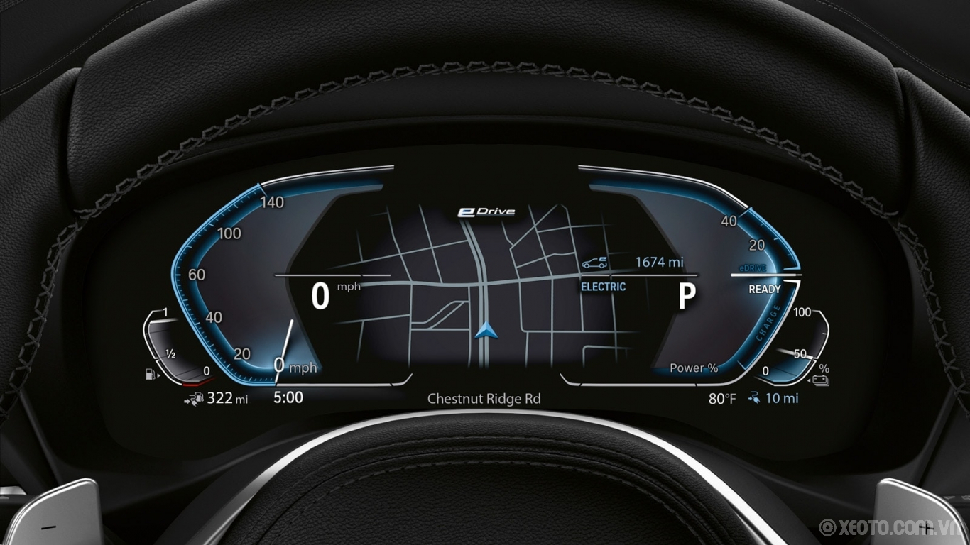 BMW X3 2020 hình ảnh nội thất Precise readouts are only a glance away with the X3 xDrive30e's redesigned, plug-in hybrid-specific instrument cluster.