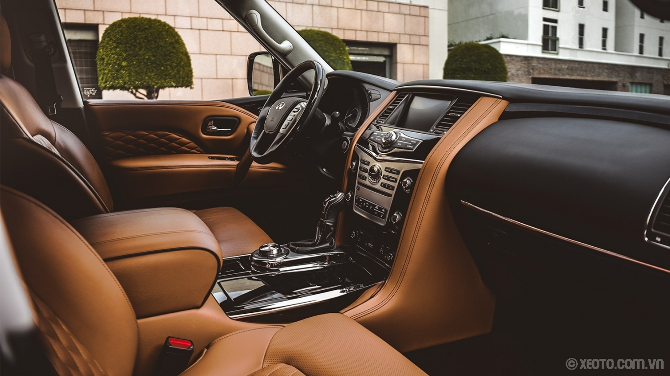 Infiniti QX80 2020 hình ảnh nội thất Interior View Of Saddle Brown Leather Semi-Aniline Seating