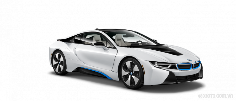 BMW i8 2020 Màu Crystal White Pearl Metallic with BMW i Frozen Blue accent